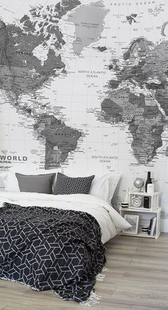 Planning your next getaway? This world map wallpaper brings the world to your fingertips and looks stylish at the same time. Monochrome tones add an air of sophistication to any bedroom space.
