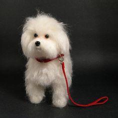 Needle Felted Maltese Dog Sculpture by KaysK9s, via Flickr