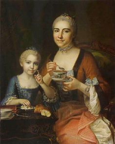 louis tocque - Portrait of a Lady and her Daughter