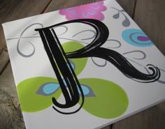 first initial R hand painted custom 10x10 custom by poshpaints, $47.00