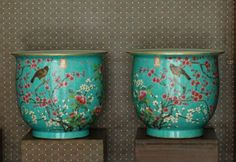 Green Ground Large Pair Chinese Qing Famille Rose Porcelain Flower Pots with a Da Ya Zhai Mark, Size: D*H  40*35cm