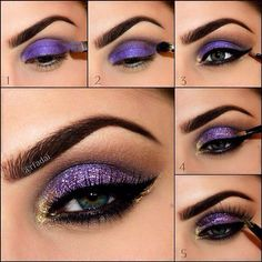 Amazing Collection of Purple Eye Makeup Tutorial Lila und Gold Augen Make-up Tutorial Purple Eye Makeup, Purple Eyeshadow, Love Makeup, Skin Makeup, Makeup Eyeshadow, Makeup Art, Makeup Ideas, Makeup Tutorials, Eyeshadow Tutorials