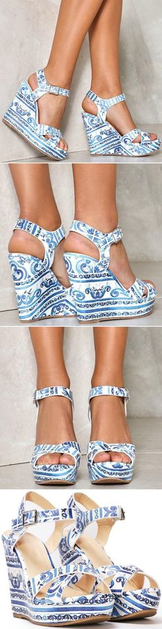 Get a leg up. This wedge features an round open toe, ankle strap closure, criss cross straps at front, and swirl and line design throughout. Ugg Boots, Ankle Boots, Shoes Sandals, Dress Shoes, Open Toe Boots, Next Shoes, Jelly Shoes, Winter Boots, Designer Shoes