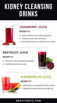 Top 5 Kidney Cleansing Drinks: Miraculous Effects And Simple Ingredients Watermelon Juice Benefits, Beetroot Juice Benefits, Cranberry Juice Benefits, Healthy Detox, Healthy Juices, Healthy Drinks, Vegan Detox, Healthy Food, Healthy Nutrition