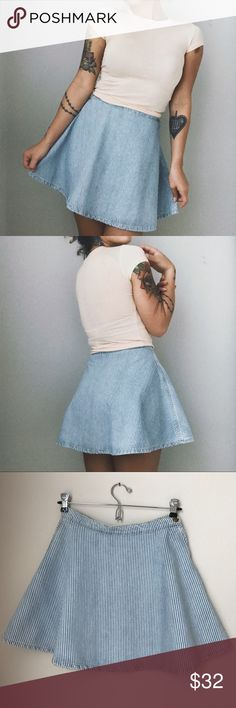 ::NWOT:: AA Denim Striped Circle Skirt Brand new and never worn. Perfect condition all around. Side button and zipper. 16 in. long. True to size. BUNDLE THIS SKIRT WITH ANOTHER SKIRT AND I WILL GIVE YOU A PERSONAL DISCOUNT!!! American Apparel Skirts Circle & Skater