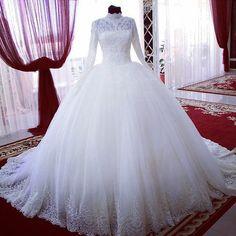 Long Sleeve Muslim Dubai Arabic Lace Wedding Dresses Princess Bridal Ball Gowns