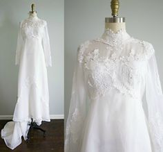 vintage 1970s bohemian white lace and chiffon victorian style wedding dress . Bridal Originals 70s empire waist gown with train . small by VelvetPinVintage on Etsy