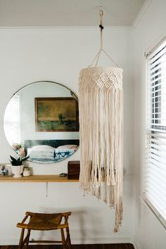 Modern Minimal Bedroom featuring macrame and indigo shibori from House Sparrow Fine Nesting Workshop, on Life On A Beautiful Background.