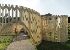Trylletromler wooden installation that looks like a maze by FABRIC: Dutch design studio FABRIC has installed a slatted wooden structure that creates a curvy maze in the garden of Rosenborg Castle in Copenhagen, Denmark