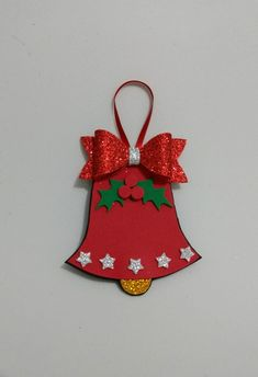 Christmas bell with eve bow with glitter and decoration – Christmas Crafts Christmas Crafts For Kids To Make, Felt Christmas Decorations, Preschool Christmas, Christmas Ornament Crafts, Christmas Paper, Christmas Bells, Xmas Crafts, Diy Christmas Gifts, Christmas Countdown