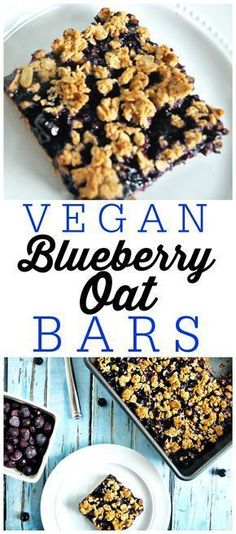 Vegan Blueberry Oat Bars are a great recipe for a healthy breakfast, snack, or even desserts! I love this gluten-free treat.These Vegan Blueberry Oat Bars are a great recipe for a healthy breakfast, snack, or even desserts! I love this gluten-free treat. Healthy Breakfast Snacks, Healthy Vegan Snacks, Vegan Treats, Vegan Breakfast Recipes, Paleo, Dessert Recipes, Healthy Bars, Healthy Oat Recipes, Vegan Blueberry Recipes