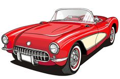 A 58 Corvette. Gotta love it!  Illustrator & Photoshop work finished  with a Wacom tablet.    www.tolleneer.be
