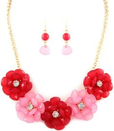 Flower Necklace Set - Pink via Thorpe's Emporium. Click on the image to see more!