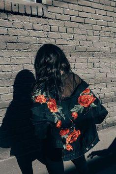 Jacket: bomber roses embroidered embellished denim mesh urban oversized floral floral black bomber