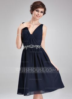 Cocktail Dresses - $109.99 - A-Line/Princess V-neck Knee-Length Chiffon Cocktail Dress With Ruffle Beading (016008810) http://jjshouse.com/A-Line-Princess-V-Neck-Knee-Length-Chiffon-Cocktail-Dress-With-Ruffle-Beading-016008810-g8810