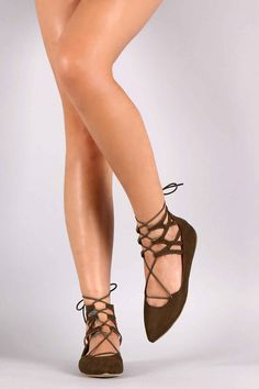 Liliana Suede Caged Cuff Lace Up Pointy Toe Ballet Flat from Puckees. Saved to feet wear👢👠. Fall Shoes, Spring Shoes, Mid Calf Boots, Fashion Flats, Cute Shoes, Ballet Flats, Casual Shoes, Stiletto Heels, Lace Up