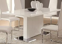 Coaster Home Furnishings Glossy White Contemporary Dining Table, 63 x 35.5 x 30 Inch http://amzn.to/2u046iQ