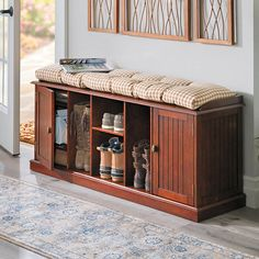 Comfortable and useful bench has 4 multi-sized cubbies for tall boots, clogs, shoes, while 3 cubbies on each side are enclosed by a door. Shoe Bench, Bench With Shoe Storage, Shoe Storage Living Room, Closet Conversion, Storage Design, Storage Ideas, Space Saving Storage, Small Rooms, Custom Wood