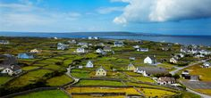 Aerial view of the Aran islands, Ireland