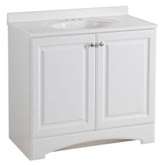Glacier Bay 37 in. W x 36 in H x 19 in. D Bathroom Vanity in White with Cultured Marble Vanity Top in White with White Sink - The Home Depot Vanity Tops With Sink, Granite Vanity Tops, Bathroom Vanity Tops, Bath Vanities, Downstairs Bathroom, Bathroom Styling, Small Bathroom, Bathroom Ideas, Garage Bathroom