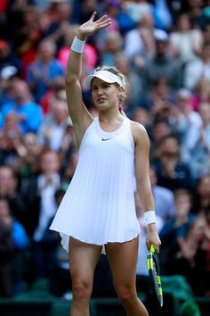 Eugenie Bouchard of Canada celebrates victory during the Ladies Singles second round match against Johanna Konta of Great Britain on day four of the Wimbledon Lawn Tennis Championships at the All. Tennis Outfits, Tennis Skirts, Tennis Dress, Tennis Clothes, Nike Clothes, Tennis Tips, Sport Tennis, Play Tennis, Tennis Fashion