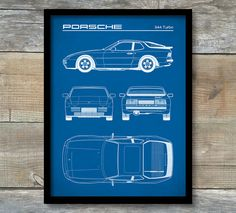 Vintage blueprints for famous inventions patent print porsche 944 turbo blueprint porsche 944 poster malvernweather Image collections