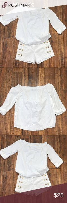 Zara Woman Off Shoulder Top S Zara Woman white off the shoulder top w/stretch. 3/4 sleeves cuff up. Small. In good condition from my nonsmoking home. Shorts listed in another listing. Zara Tops Blouses