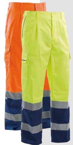 Pantalone alta visibilità bicolore giallo blu arancio blu estivi 5 tasche EN471
