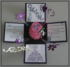 Cloth, Paper Crafts and More...: Valentine Exploding Box and Card, would make a cool invite