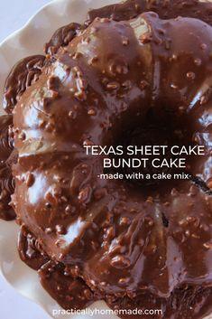 Chocolate Pecan Cake Recipe, Chocolate Desserts, Texas Chocolate Sheet Cake, Pecan Pie Cake, Chocolate Cake Mixes, Chocolate Fudge, Sheet Cake Recipes, Cake Mix Recipes, Dessert Recipes