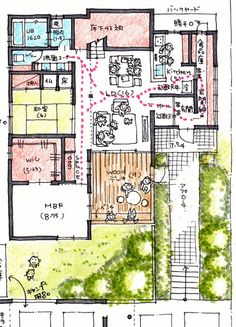 山内邸115 Small Floor Plans, Home Design Floor Plans, Home Room Design, Small House Plans, House Design, Sims 4 House Plans, House Floor Plans, Sims House, Dream House Plans