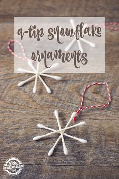Q-Tip Snowflake Ornaments are easy, fun, and require only two supplies! A fabulous Christmas craft for kids! Simple Snowflake, Snowflake Craft, Snowflake Ornaments, Christmas Tree Ornaments, Snowflakes, Holiday Activities For Kids, Christmas Crafts For Kids, Holiday Crafts, Santa Crafts