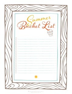 Great printable for planning the summer activities!!