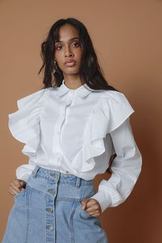 Frill Boxy Shirt - Ladies New In - What's New White Blouses, Winter Essentials, Whats New, No Frills, Fashion News, Fashion Forward, Latest Trends, Ruffle Blouse, Lady