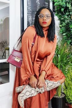 Burnt Orange Outfits: paired with printed snake boots Day Party Outfits, Outfits Fiesta, Christmas Party Outfits, Holiday Party Outfit, Night Outfits, Fall Outfits, Orange Outfits, Boot Outfits, Estilo Casual Chic