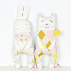 handmade soft toy bunny and polar bear by PinkNounou
