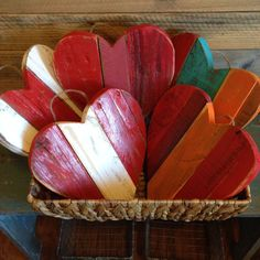 Don't be blue! This reclaimed wood heart packs a big punch. Measuring approximately 1 ft by 1ft, it is perfect for displaying just about anywhere! This heart can be customized with colors of your choo
