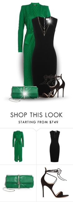"""Colour Series 2/12: Green (OUTFIT ONLY!)"" by bliznec ❤ liked on Polyvore featuring Balmain, Victoria Beckham, 3.1 Phillip Lim, Gianvito Rossi and Jessica Simpson"
