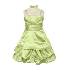 This dress by Princess Diaries is a fashion asset for any little girl's wardrobe.  A great flower girl dress! The lime greendress features spaghetti straps, rhinestone embellishment in  V-shape design, waistband and a shiny satin pick-up skirt. A shawl is