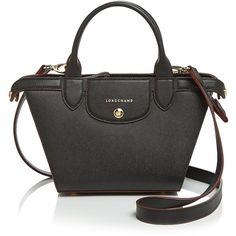 Longchamp Satchel - Le Pliage Heritage Small (2.720.180 COP) ❤ liked on Polyvore featuring bags, handbags, black, longchamp handbags, handle satchel, satchel hand bags, satchel style purse and longchamp purse