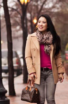 cute & little blog   hot pink sweater, leopard scarf, camel peacoat, gray jeans, speedy 25 outfit