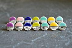 Geometric ceramic stud earrings, colorful stud earrings, ceramic jewelry for summer, teenage girl gift