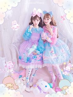 Moonlight Forest -Fantasy Castle- Lolita Jumper Dress Version II with Overskirt Harajuku Fashion, Japan Fashion, Kawaii Fashion, Cute Fashion, Women's Fashion, Pastel Fashion, Colorful Fashion, Mode Kawaii, Kawaii Style
