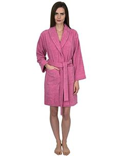 5659d8873b Women s short terry shawl robes are made of 100% Turkish cotton. These terry  cloth robes are absorbent