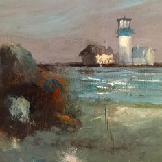 It's time to return to #reality - saying goodbye to the #Montaukhouse this morning and really feeling the blue tones in this lighthouse #painting in my #beachhouse. #montauk #art #artoftheday