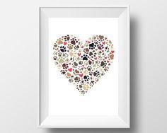 Pet art  paw print heart  papercut art  by HolmesMadePapercuts