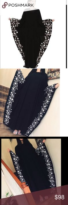 NWD Embroidery DUBAI caftan maxi dress abaya Luxury Embroidery DUBAI caftan maxi dress abaya. Free size. Has small snag listed in picture Dresses Maxi