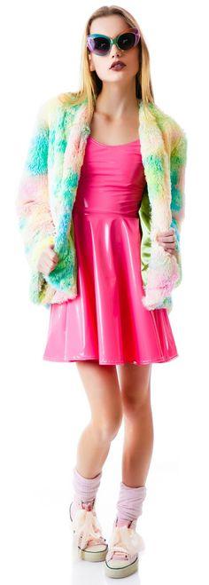 Miracle Eye Psychedelic Tie Dye Furry Pill Coat   Dolls Kill