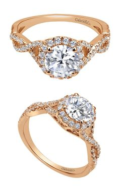 A love that will last a lifetime. The 14k Pink Gold Contemporary Halo Engagement Ring from the Gabriel Bridal Collection. Find this and more at www.mcgeejewelers.com