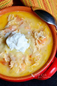 Homemade Creamy Chicken Enchilada Soup!!  This Soup Always Turns Out Amazing and Captures the Best Enchilada Flavors!!  It's Topped With Toasted Tortilla Strips, Sour Cream and Grated Monterrey Jack Cheese…MMMmmm!!! #food #yummy #delicious